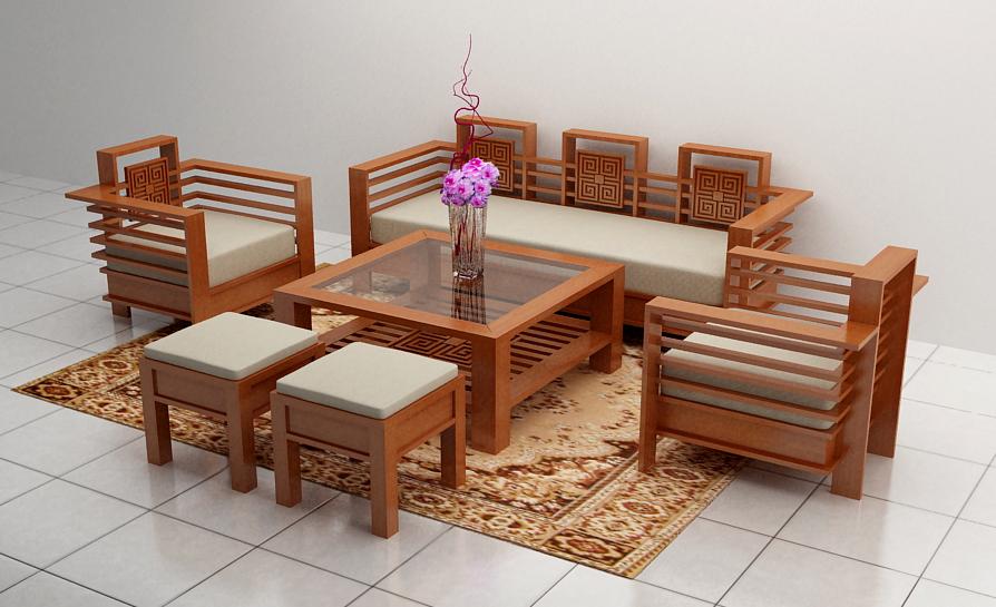 bàn ghế gỗ phòng khách giá rẻ P10
